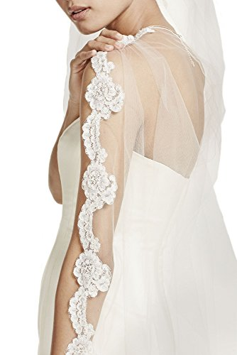 Passat Diamond White Single-Tier 3M Cathedral Bridal Veil with Pearls and Alencon Lace Edge DB33 by Passat