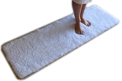 Runner Bath (White Bath Mat Runner Rug Shag Non Slip Ultra Plush Microfiber Highly Water Absorbent Durable and Washable for Bathroom (20 Inch X 59 Inch))