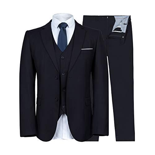 0da8f67213c WULFUL Men s Suit Slim Fit 3 Piece Suit Blazer Two Button Tuxedo Business  Wedding Party Jackets