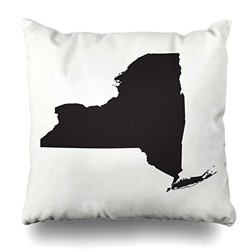 Ahawoso Throw Pillow Cover States Gray America Outline Map New York Geographic Abstract American Area Atlas Blank Border Design Decorative Pillow Case Home Decor Square Size 18x18 Inches Pillowcase
