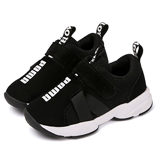 Daclay Kids Sneakers Fashion Letter Casual Light Mesh Comfortable Sports Running Single Shoes (3 Big Kid, Black)