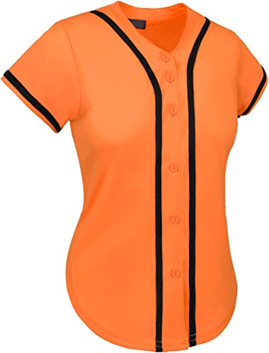 Hat and Beyond up Womens Baseball Button Down Athletic Tee Short Sleeve Softball Jersey Active Plain Sport T Shirt (2X-Large, 01 Orange/Black) ()