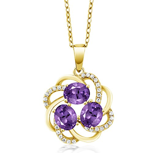 (1.40 Ct Oval Purple Amethyst 18K Yellow Gold Plated Silver Pendant)