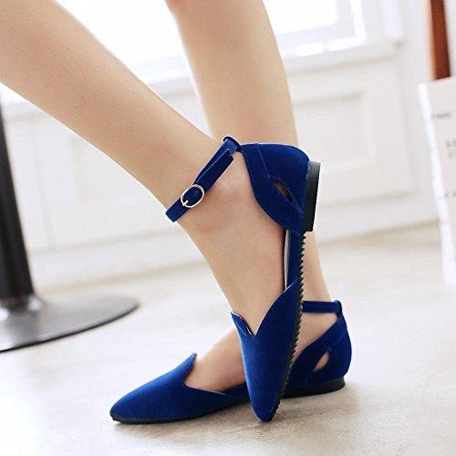 ... Carolbar Kvinners Ankel Strap Spenne Mote Komfort Uformell Kjole Sexy  Spiss Tå Flats Sandaler Blå