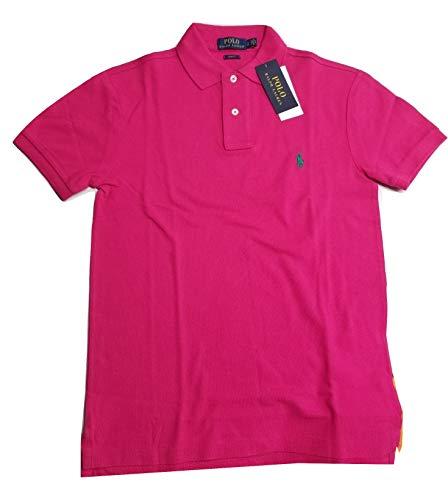 Polo Ralph Lauren Men's Slim Fit Cotton Pique Mesh Polo Shirt (Vibrant Pink, Small) (Ralph Lauren Polo Shirts For Men)