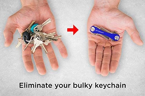 KeySmart Classic  Compact Key Holder and Keychain Organizer up to 14 Keys Blue