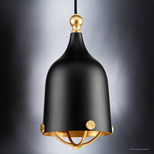 Luxury Americana Pendant Light, Small Size: 11.75''H x 6.375''W, with Nautical Style Elements, Midnight Black Finish, UHP2341 from The Cincinnati Collection by Urban Ambiance by Urban Ambiance (Image #2)
