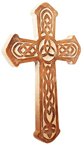 The StoreKing Father's Day Gifts Wooden Wall Hanging French Cross 12'' with Celtic Hand Carvings Religious Cross Home Living Room Decor (Design6) by The StoreKing (Image #1)