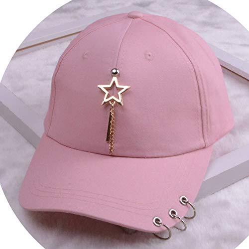 女性 リング野球帽 男性女性 白黒 野球の帽子,1つ星のピンク