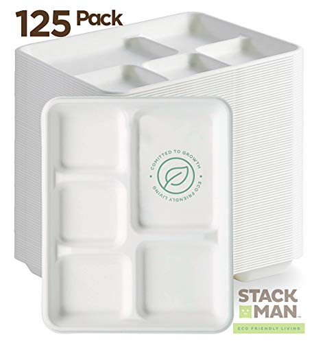 Stack Man 100% Compostable Paper Plate 125-Pack 5-Compartment Bagasse School Lunch Heavy Duty Quality Disposable Tray, Eco-Friendly Made of Sugar Cane ()