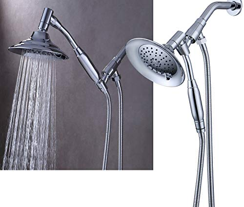 G-promise Double Height Positioning Shower Head, High Pressure Shower Heads with Handheld Spray, Adjustable Metal Bracket Holder,Extra Long Stainless-Steel Flexible Hose, Chrome