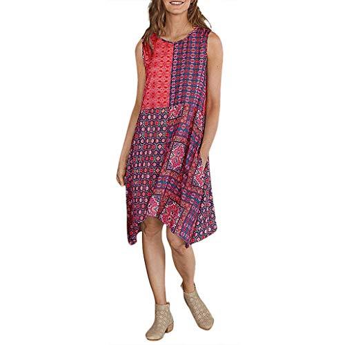 LIM&Shop  Summer Plus Size Tank Dress Sleeveless Vintage Casual Dress Flowy Shirt Crew Neck Mini Dress Print Shirt Red -