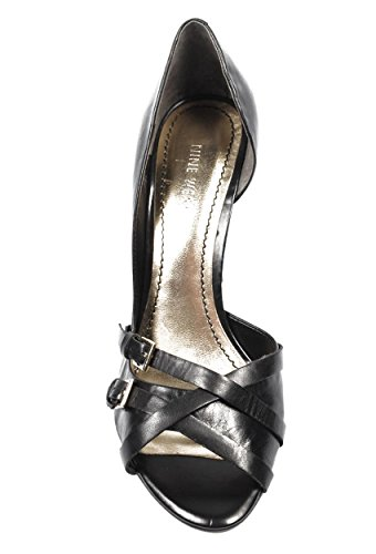 NINE WEST - Damen DOrsay Pump Offener Zeh NWMATADOR BLACK Hacke: 7.5 cm
