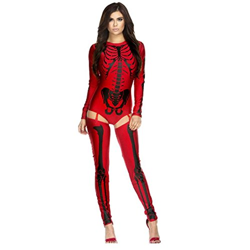 Hot Sale 2017 Halloween Costumes For Women Sexy White/Red Bad To The Bone Skeleton Costume (Fake Pregnant Halloween Costumes)