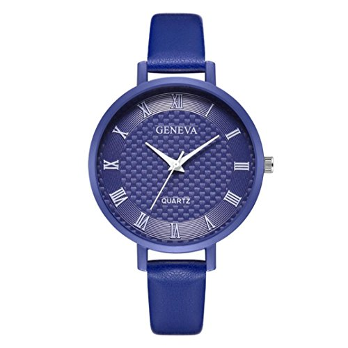 Geneve Gold Pocket Watch - Jaylove Clearance Sale Candy Color New Fashion Women's Geneva Roman Numerals Leather Analog Quartz Wrist Watches (Blue)