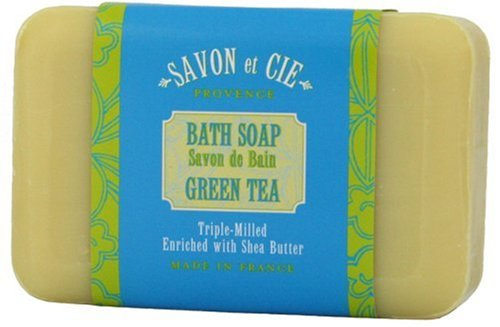 Provence Green Milled Soap - Savon et Cie Triple Milled Soap, 7oz (200g) bar. Made in France. With Organic Shea Butter - Green Tea (Pack of 3)