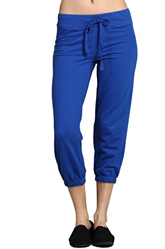 Ever77 Women's Athleisure Cropped Jogger Sweat Pants/S,M,L,XL/TP1030DO-Royal Blue,XL ()