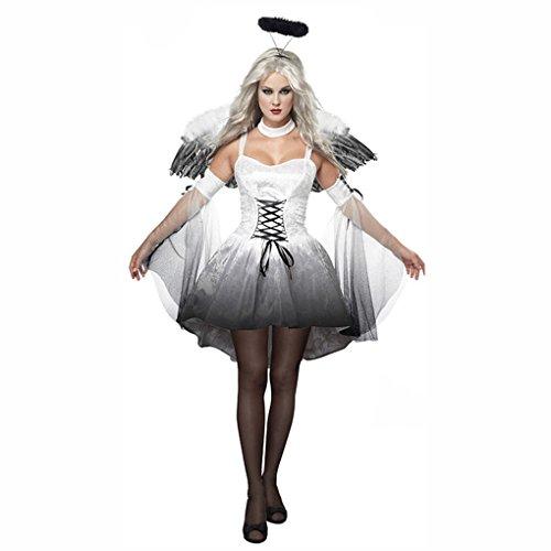 [Women Halloween Angel Costume with Wings Headband Fancy Dress Demon Cosplay Uniforms Outfits] (Female Demon Costumes)