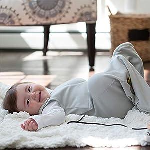 Nested Bean Zen Sack Classic - Adjustable Cotton Wearable Blanket | Baby Sleeping Bag (Grey, 15-24 Months)