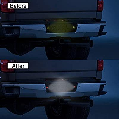 Full LED License Plate Light Tag Lamp Assembly Replacement For Cadillac Escalade Chevy Silverado Tahoe Suburban GMC Sierra 1500 2500 3500 Yukon XL with 36 LED Plug and Play Waterproof, Xenon White: Automotive