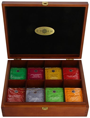 Stash Tea 8 Flavor Variety Pack Gift Set, 80 Count Tea Bags in Foil with Tea Chest