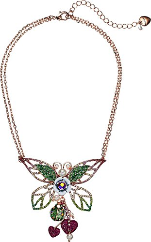 Betsey Johnson Green - Betsey Johnson Colorful And Green Tonal Butterfly Pendant Necklace, Pink, One Size