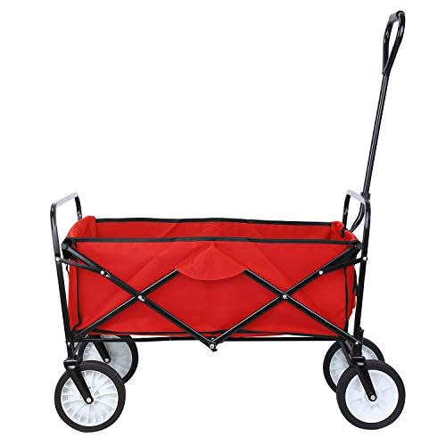 "Collapsible Outdoor Utility Wagon, Heavy Duty Folding Garden Portable Hand Cart, with 8"" Rubber Wheels and Drink Holder, Suit for Shopping and Park Picnic, Beach Trip and Camping (Red)"