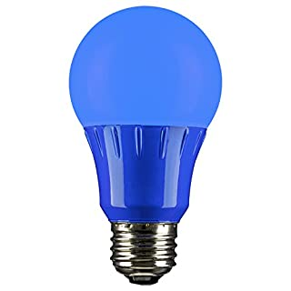 Sunlite 80145 Blue LED A19 3 Watt Medium Base 120 Volt UL Listed LED Light Bulb, last 25,000 Hours