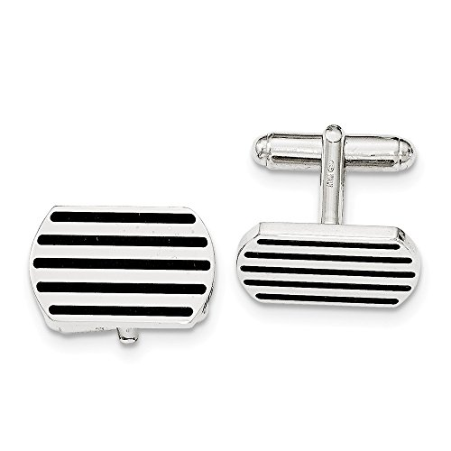 Sterling Silver Black 5 Stripe Enamel Cuff Link by CoutureJewelers