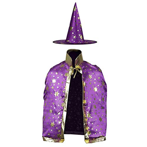Children's Halloween Witch Costume Cloak Set, Unisex and Star Printed Hood/Hat for Boys Girls Cosplay (Purple)
