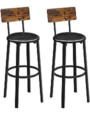 VASAGLE barkruk, set van 2, barkrukken, 39 x 39 x 100 cm, met voetsteun, PU-deksel, eenvoudige montage, voor eetkamer, keuken, balie, bar, vintage bruin-zwart LBC069B81