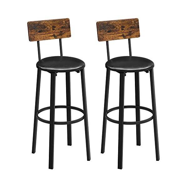 VASAGLE Chaises de Bar, Lot de 2, Tabourets Hauts, Sièges rembourrés, 39 x 39 x 100 cm, Repose-Pieds, Montage Facile…