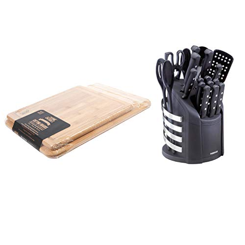 ck Bamboo Cutting Boards bundle with Farberware 17-Piece Never Needs Sharpening Knife and Kitchen Tool Set ()