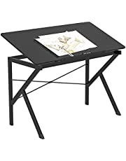 HOMCOM 47'' Height Adjustable Drawing and Drafting Table Art and Craft Hobby Desk 6 Level Tilt Top Wood Surface for Drawing Painting Writing and Studying Black
