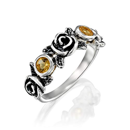 Sterling Silver Flower Vine - PZ Paz Creations .925 Sterling Silver Gemstone and Rose Flower Ring (8, Citrine)