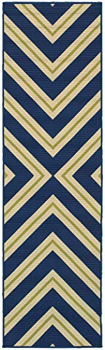 Living Comfort TAL98542X8 Tahiti TAL9854 2ft 3in X 7ft 6in Blue/Ivory Geometric Indoor Outdoor Area Rug,