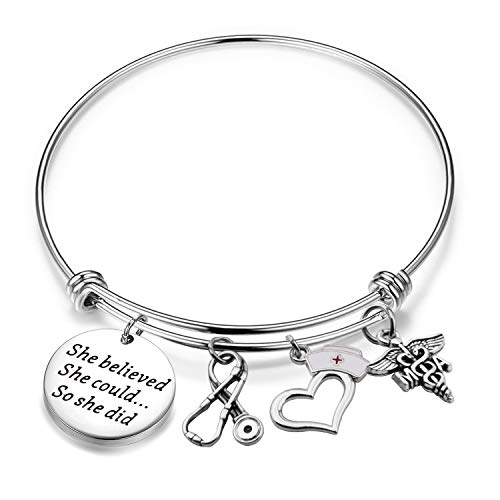 (Lywjyb Birdgot MA Medical Assistant Gift Medical Assistant Graduation Gift She Believed She Could So She Did Keychain Med School MA Graduation Gift (MA Bracelet))