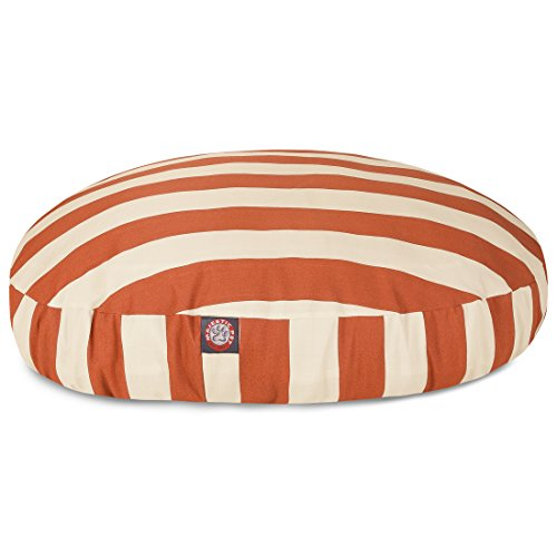 Burnt Orange Vertical Stripe Large Round Indoor Outdoor Pet Dog Bed With Removable Washable Cover By Majestic Pet Products by Majestic Pet