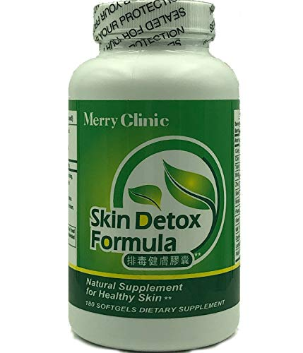 Clear Skin Detox Supplements By Merry Clinic – Natural Skin Supplements For Women – Skin Detox Pills Dietary Supplements For Skin – Botanical Clear Skin Vitamins – 180 Soft Gel Acne Skin Supplements