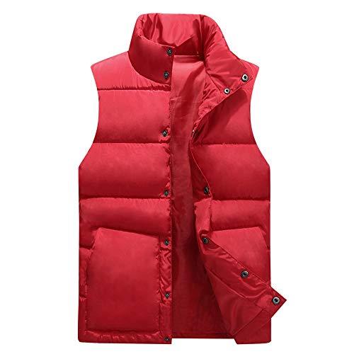 (Mens Waistcoat Vest Autumn Winter Casual Stand Collar Pocket Pure Color Top Coat Red)