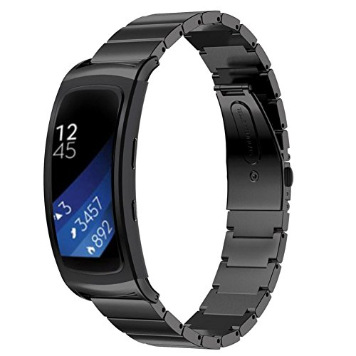 Stainless Steel Bracelet Smart Watch Band Strap For Samsung Gear Fit 2 (Black)
