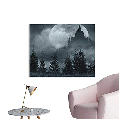 Anzhutwelve Halloween Photographic Wallpaper Magic Castle Silhouette Over Full Moon Night Fantasy Landscape Scary Forest Funny Poster Grey Pale Grey W36 xL24 ()