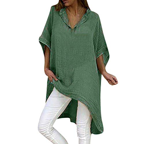Masun Plus Size Tops Summer Half Sleeve V-Neck Boho Vintage Solid Color Irragular Long Loose Blouse Army Green