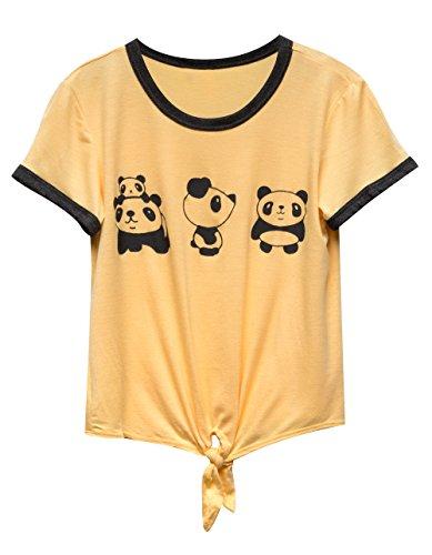 WHITE FAWN Panda Tie Front Girls Ringer Tee, Light Yellow, (Yellow Kids Ringer T-shirt)