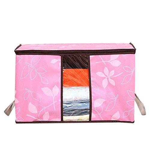 Fan-Ling Perspective Window Clothing Finishing Storage Bag,Creative Portable Miscellaneous Storage Bags,Storage Organization,Collapsible Flower Printed Quilt Storage Bags (Pink)