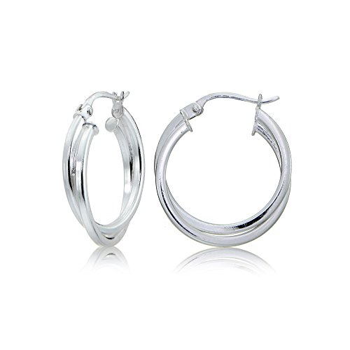 Sterling Silver Square Tube Intertwined Earrings
