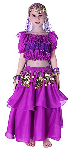 Kids Genie Costume for Girls Top Model Dance 4T 6 7 8 10 12 14 16 L XL Purple -