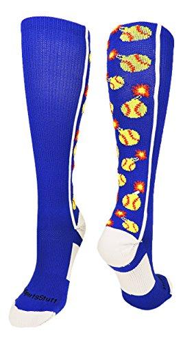 MadSportsStuff Softball Bomber Over the Calf Socks (Royal/White, Large by MadSportsStuff (Image #5)