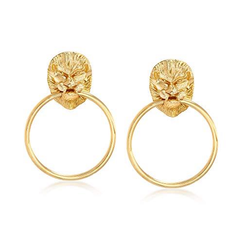 Ross-Simons Italian 18kt Yellow Gold Over Sterling Silver Lion Head Doorknocker Earrings ()