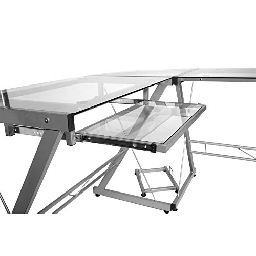 41D5zpa5zVL - OneSpace Ultramodern Glass L-Shape Desk